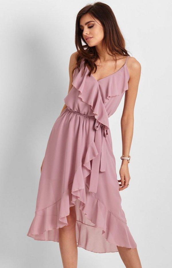 Letnia sukienka midi rożowa Chantal