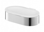 Szklana mydelniczka Bisk Futura Silver 02982 w chromowanym uchwycie metalowym