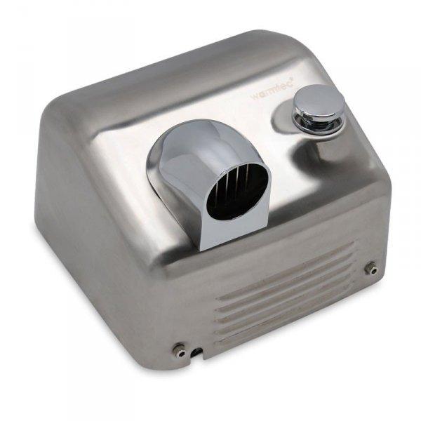 Suszarka do rąk Warmtec Barrel Flow Push 2500W, srebrna ze stali nierdzewnej