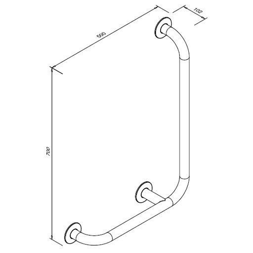 Poręcz kątowa 90° dla niepełnosprawnych Faneco S32UKP7/5 SN M prawa 70x50 cm stal nierdzewna