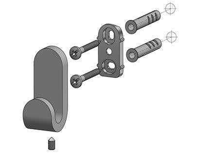Metalowy wieszak łazienkowy Bisk Natura 04304 pojedynczy chromowany