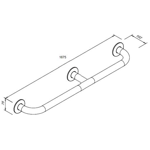 Poręcz prosta dla niepełnosprawnych Faneco S32UP16 SW B 160cm stal węglowa emaliowana