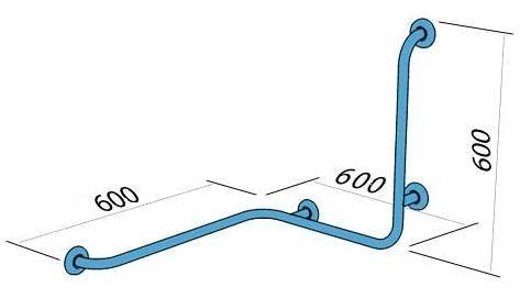 Poręcz wannowo-prysznicowa dla niepełnosprawnych Faneco S32UPPP prawa 60x60x60 cm stal nierdzewna