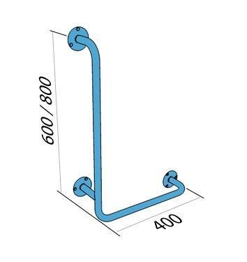 Poręcz kątowa typu L prawa 80/40cm dla niepełnosprawnych UKP 8/4 stal węglowa emaliowana
