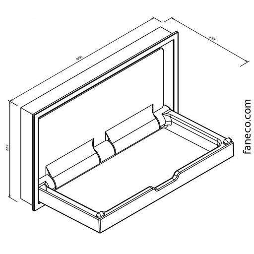 Przewijak ścienny - stanowisko do przewijania dzieci i niemowląt wnękowe Faneco SBCTXIH z obudową metalową, poziome, składane