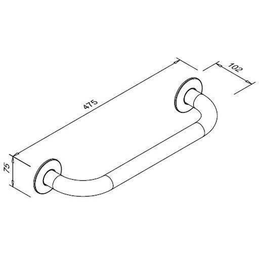 Poręcz prosta dla niepełnosprawnych Faneco S32UP4 SW B 40cm stal węglowa emaliowana