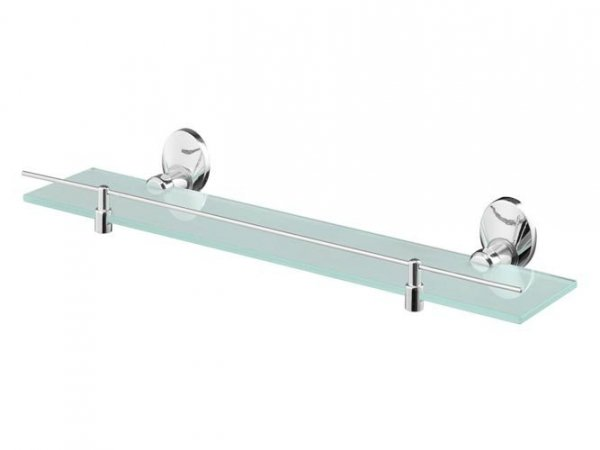 Półka łazienkowa Bisk Emotion 03102 z mrożonego szkła w uchwycie metalowym