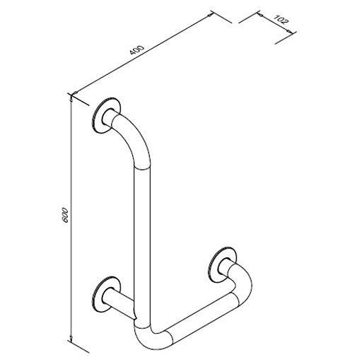 Poręcz kątowa 90° lewa dla niepełnosprawnych Faneco S32UKL6/4 SW B 60x40 cm stal węglowa emaliowana