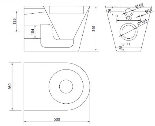 Miska WC Faneco N13018 wisząca ze stali nierdzewnej