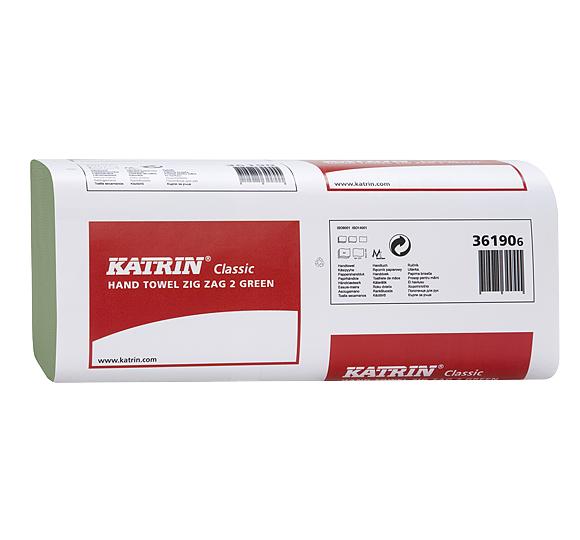 Ręczniki papierowe ZZ w listkach Katrin Classic 36190 230 x 232 mm 2-warstwowe zielone