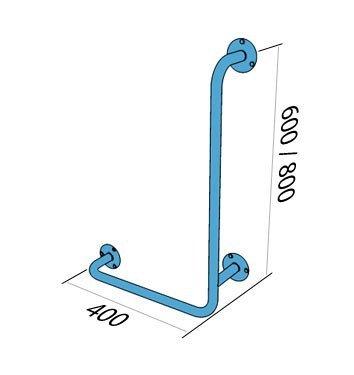 Poręcz kątowa typu L lewa 80/40cm dla niepełnosprawnych UKL 8/4 stal węglowa emaliowan
