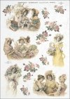 vintage, retro, woman, women, dress, flowers, rose, roses, flower decorations, ornaments, romance, R366