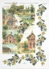 vintage, vines, grapes, wine grapes, houses, villas
