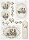 vintage, retro, woman, dress, flowers, rose, roses, flower decorations, ornaments, medallion, board, romance, R363