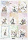 akwarelowe aniołki, anioł, ptaszek, ławeczka, miś, wiosna*watercolour angels, angel, bird, bench, bear, spring