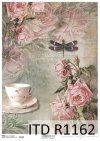 papier decoupage Vintage, filiżanka, róże, ważka*Vintage decoupage paper, cup, roses, dragonfly