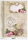 cup, cups, rose, rose, clock, retro, background, vintage, R495