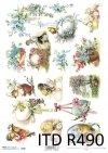 Wielkanoc, wiosna, kwiaty, retro, jajka, pisanka, pisanki, kurczaki, kura, R490