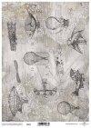 mapa de papel decoupage en gris, aviones, globos*Papier-Decoupage-Karte in grau, Flugzeuge, Ballons*карта декупажа бумаги в сером, самолеты, воздушные шары