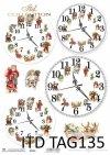 papier do scrapbookingu, świąteczne zegary*paper for scrapbooking, Christmas clocks