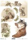 papel decoupage Navidad, gatos*Papír Decoupage Vánoce, kočky*Papier decoupage Weihnachten, Katzen