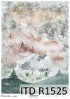 Papier decoupage z zimowym górskim widoczkiem*Decoupage paper with winter mountain view