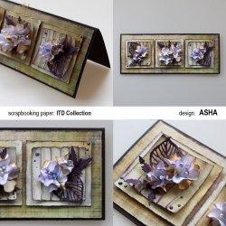 Kartka okolicznościowa Wariacje Kwiatowe - praca Asha