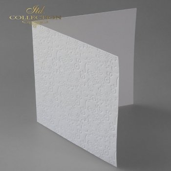 Заготовки для открыток BDK-016 натуральный белый, цветочный орнамент