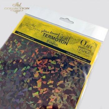 metallic foil Termoton * glitter brown