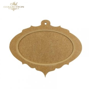 HDF004 Two-part oval bauble 1. Frame with little hole, 19,5 cm x 15,5 cm