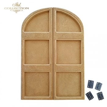 HDF009 * MDF window with hinges. Milled decoupage base. 28,5 cm x 20 cm
