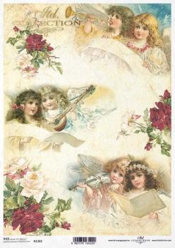 Papel De Arroz Para Decoupage Scrapbooking Vintage Navidad Ángeles A4 ITD R1010