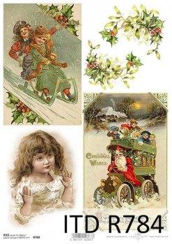 Papel De Arroz Para Decoupage Scrapbooking Vintage Navidad Santa A4 ITD R1004