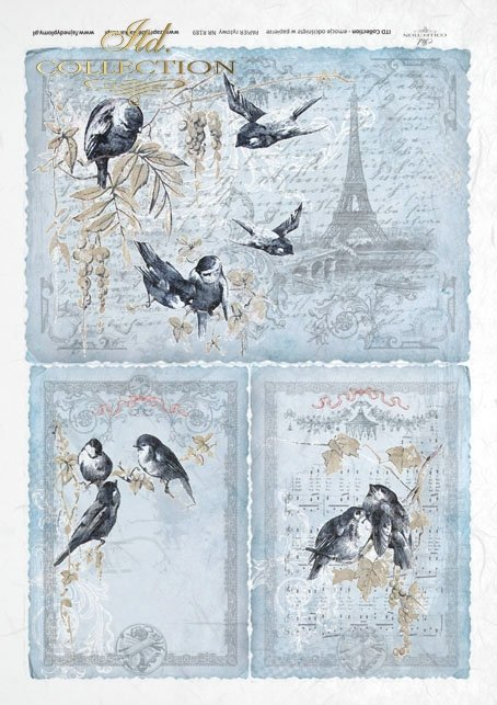ITD Collection, decoupage, scrapbooking, mixed media, Paris, Eiffel Tower, birds, R0189