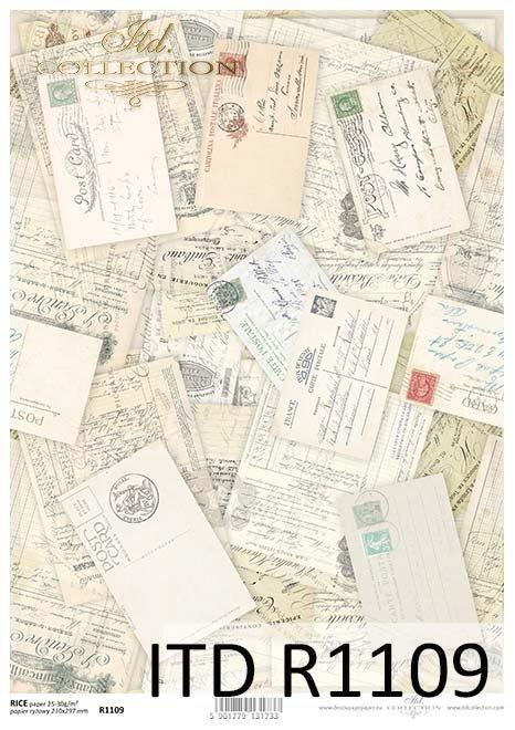 Papier decoupage kartki pocztowe, listy*Tarjetas postales de papel decoupage, letras