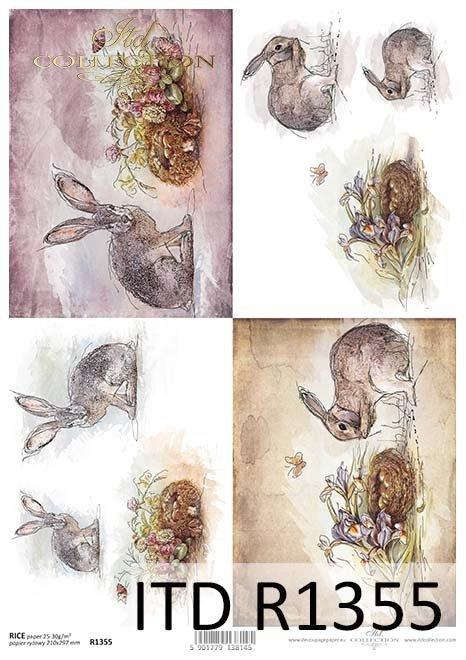 papier ryżowy decoupage zwierzęta, zające*rice paper decoupage animals, hares
