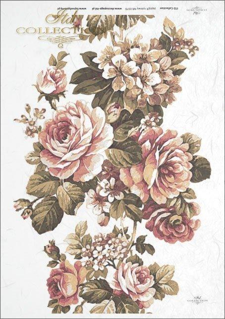 Papier ryżowy do decoupage R0379 - bukiet, kwiaty, róże, flowers, roses