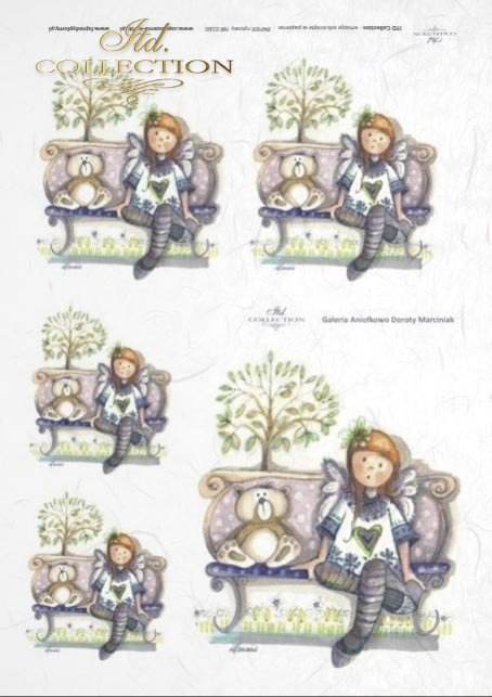 Papier ryżowy decoupage - aniołek, Aniołkowo, Dorota Marciniak