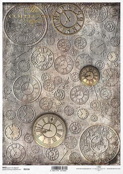 Papier Decoupagepapier Hintergrund, Zifferblätter*Papír Decoupage pozadí, číselníky*Paper decoupage background, clock face