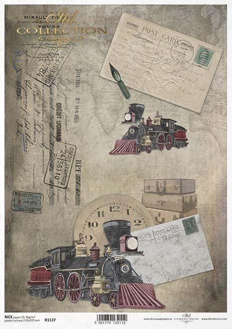 papel decoupage una vieja locomotora, locomotora de vapor*paper decoupage stará lokomotiva, parní lokomotiva*Papier decoupage eine alte Lokomotive, Dampflokomotive