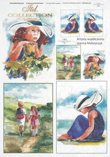 decoupage-rice-paper-portret-kapelusz-dziecko-dziewczynka-Joanna-Małoszczyk-R0110