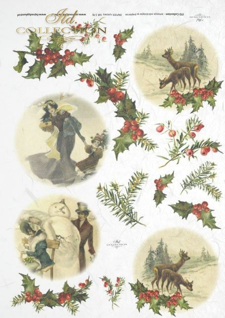 ITD Collection, decoupage, scrapbooking, mixed media, Christmas, retro, vintage, holly