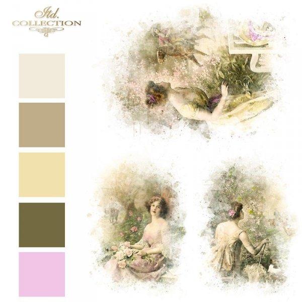 Papier-decoupage-retro-kobieta-oczekująca-na-mężczyznę-Papier-ryżowy-R1598-kolory