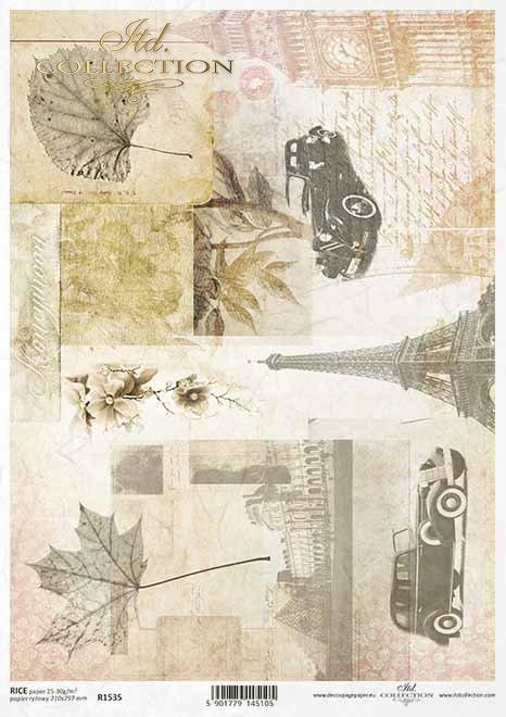 Torre Eiffel de papel decoupage, Big Ben, autos viejos, carta vieja*Decoupage Papier Eiffelturm, Big Ben, alte Autos, alter Brief*Декупаж из бумаги Эйфелева башня, Биг Бен, старые машины, старое письмо
