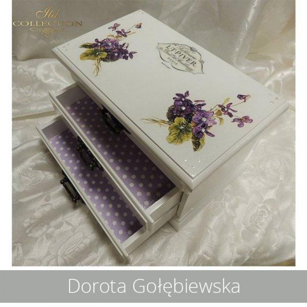decoupage, rice paper - fiołki, violets - example 01