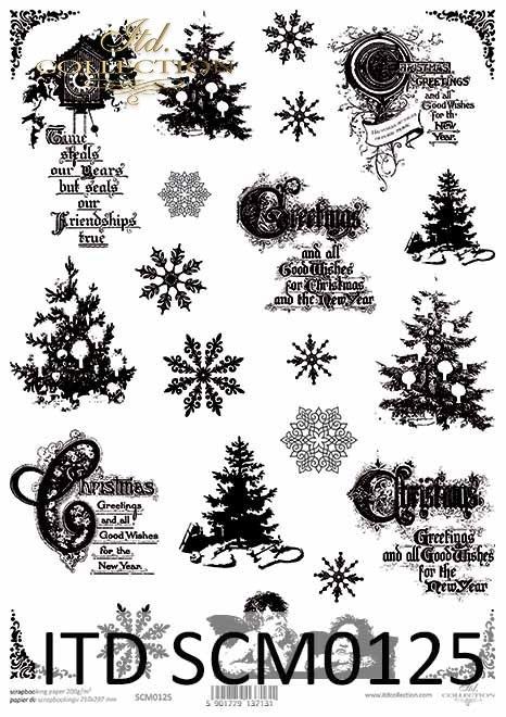 Papier scrapbooking Vintage, choinki, amorki, święta, napisy*Vintage scrapbooking paper, Christmas trees, cupids, holidays, inscriptions