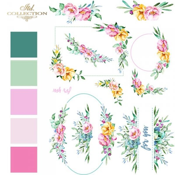 akwarele-kwiaty-różowe-żółte-niebieskie-listki-malutkie-kompozycje-roślinne-ramki-narożniki-dekory-roślinne-motywy-ślubne-na-skrzyneczki-pudełka-prezentowe-papier-decoupage-ryżowy-R1460