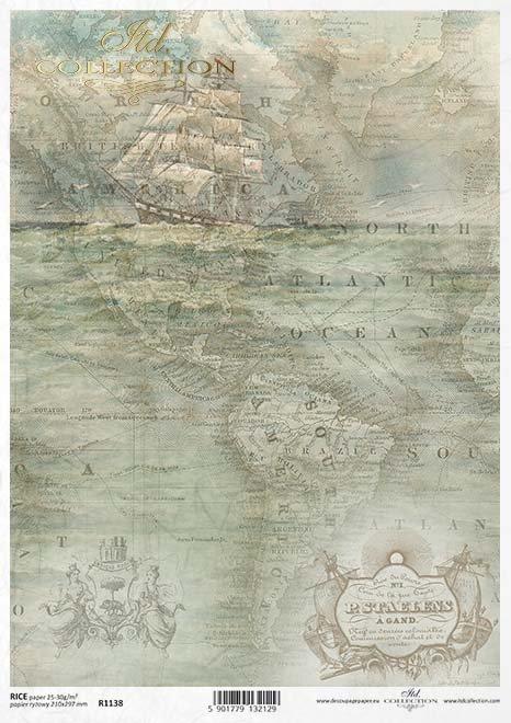 decoupage de papel viejo mapa, navegación*decoupage papír staré mapy, plachtění*Decoupage Papier alte Karte, Segeln