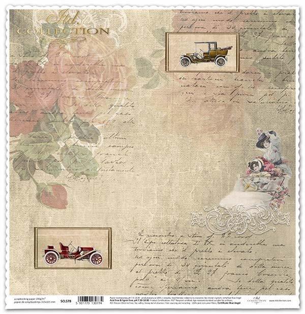 Papel para álbumes de recortes - coches retro, subtítulos, zarcillos decorativos*Papír na scrapbooking - retro auta, titulky, ozdobné úponky