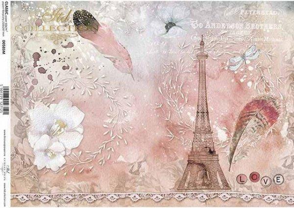 Engel, Uhren, Schmetterling, alte Schrift, Vintage*Papel decoupage con encaje, plumas, Torre Eiffel*Ангелы, часы, бабочка, старое письмо, Vintage